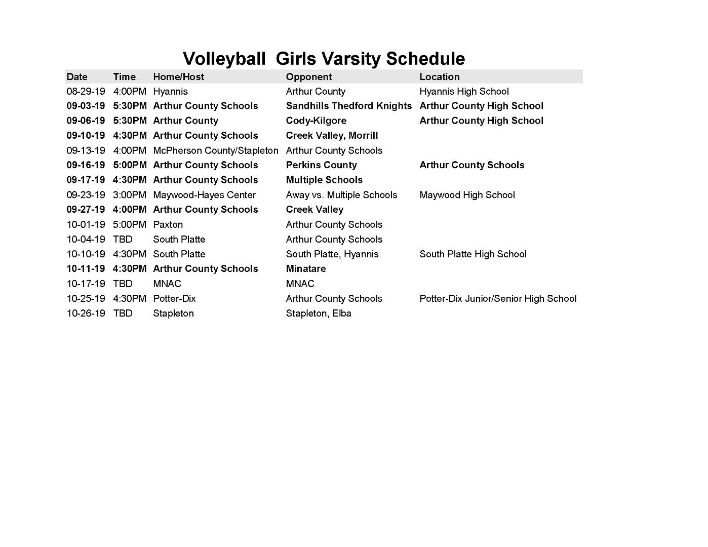 Arthur County Schools - Arthur County Varsity Volleyball